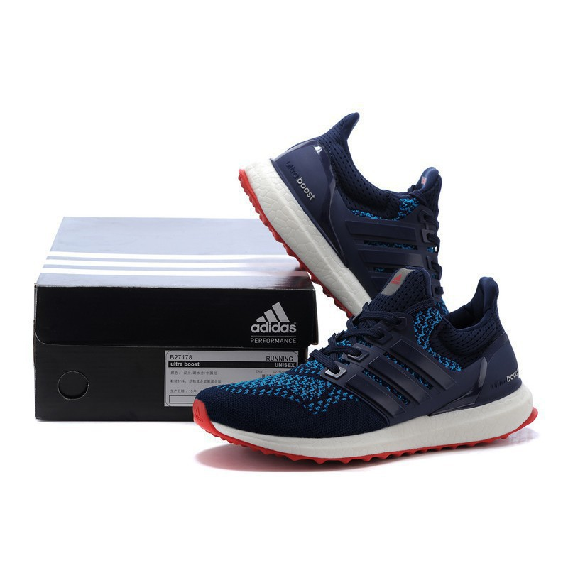 3ea18d37376f0 Adidas ultra boost ub 4.0 Wine red men s and women s knitted running shoes