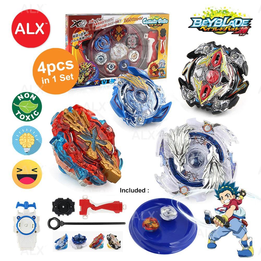 ALX Malaysia Beyblade 4PCS Burst Set With Launcher Stadium Metal Fight Toys  Gyro Fighting Gyroscope Spinning Toy