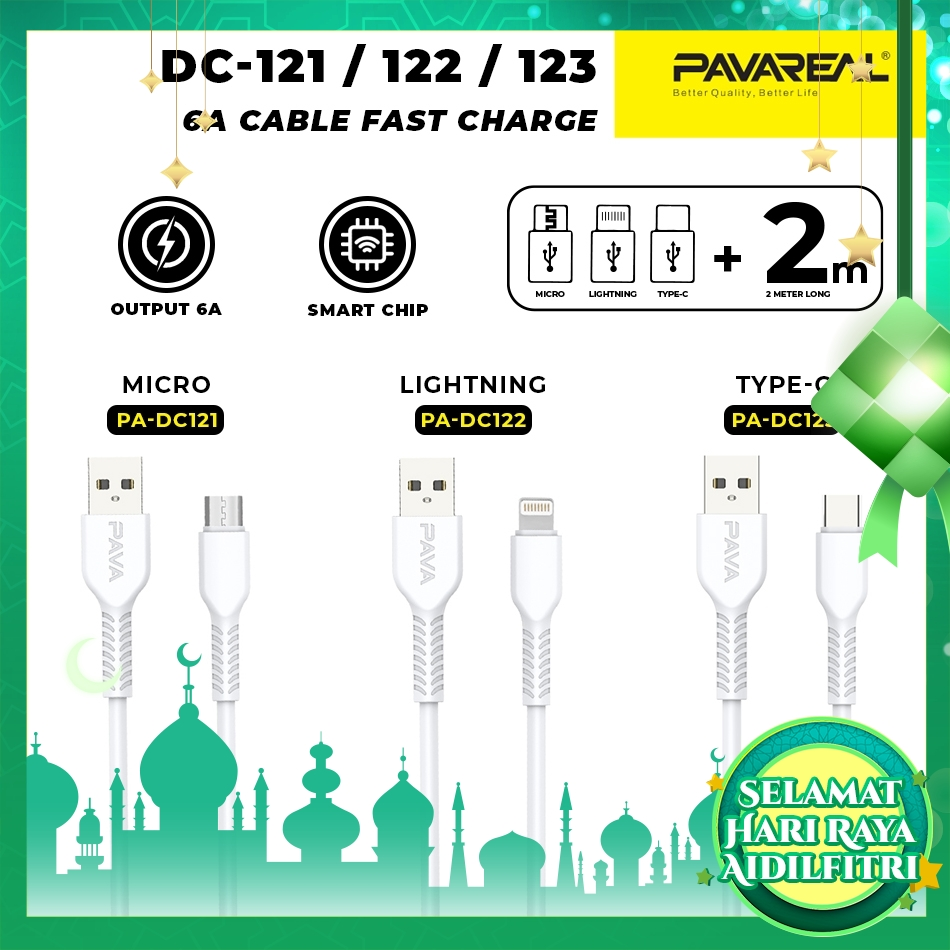 PAVAREAL PA-DC121/122/123 Super Fast Charge 6A Cable Data Cable for Micro/Lightning/Type C Samsung iPhone Oppo 2M