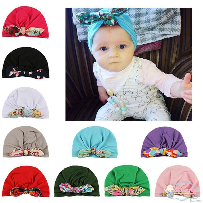 835ba1258 BabyL Newborn Baby Girl Boy Soft Turban Knot Hats Toddler Floral ...