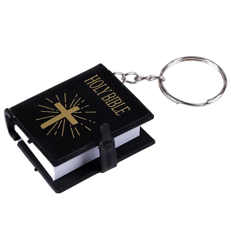 [ Ready Stock] Mini English Holy bible Keychain Religious Christian Jesus  Cross Key Ring