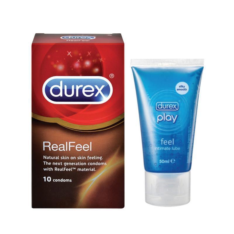 Durex Real Feel 10S Condoms + Durex Play Lubricant 50Ml