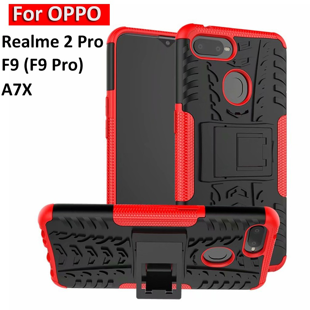 finest selection 4e907 af8a9 OPPO Realme 2 Pro 6.3-inch F9 Pro A7X Case Hard Armor Stand Shockproof Cover