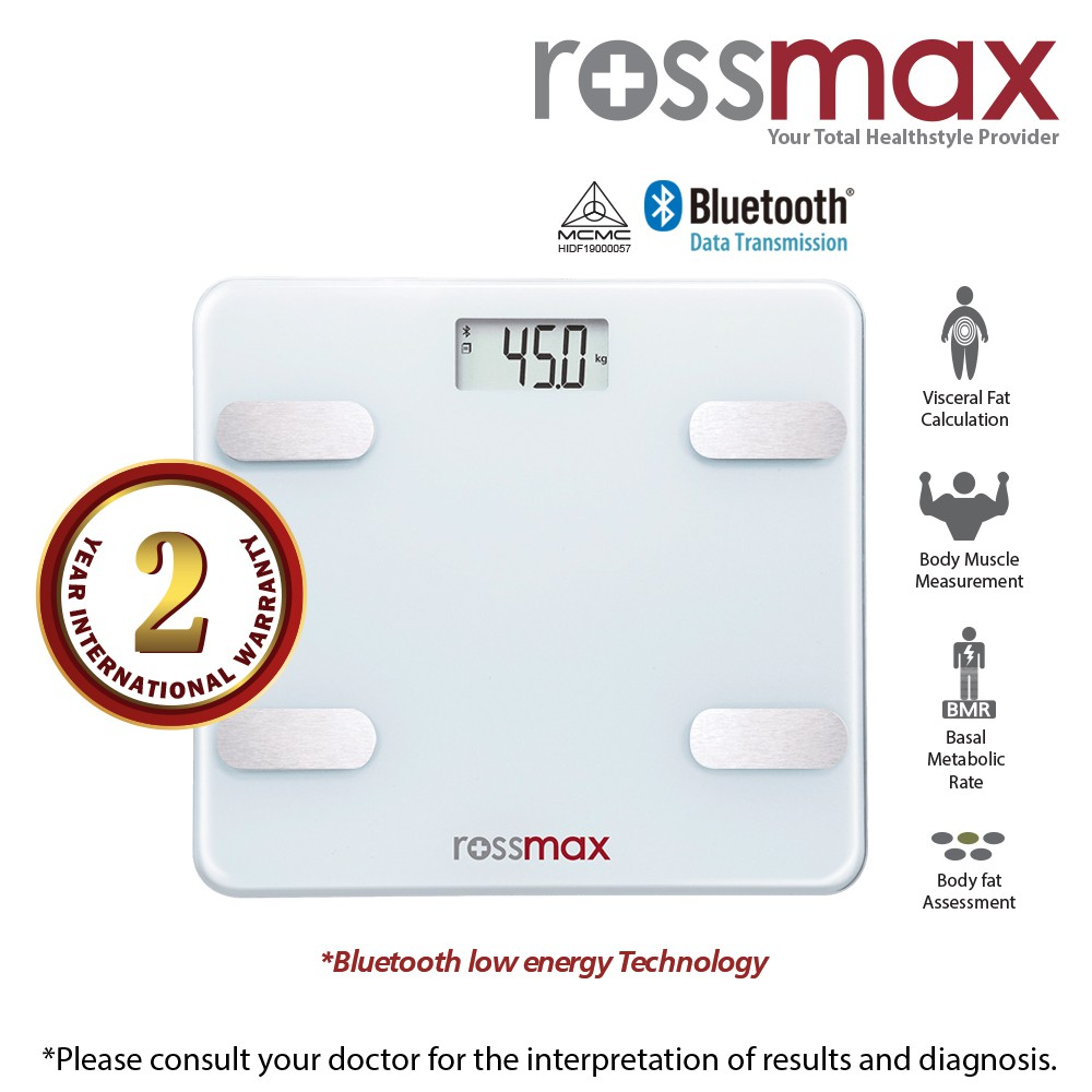 ROSSMAX Bluetooth Body Fat Monitor with scale Model WF262