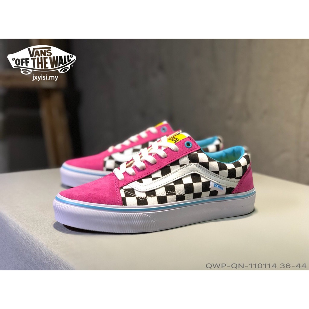 debf565dce94 VANS old skool Men Checkerboard lattice shoes women classic casual sneakers  pink