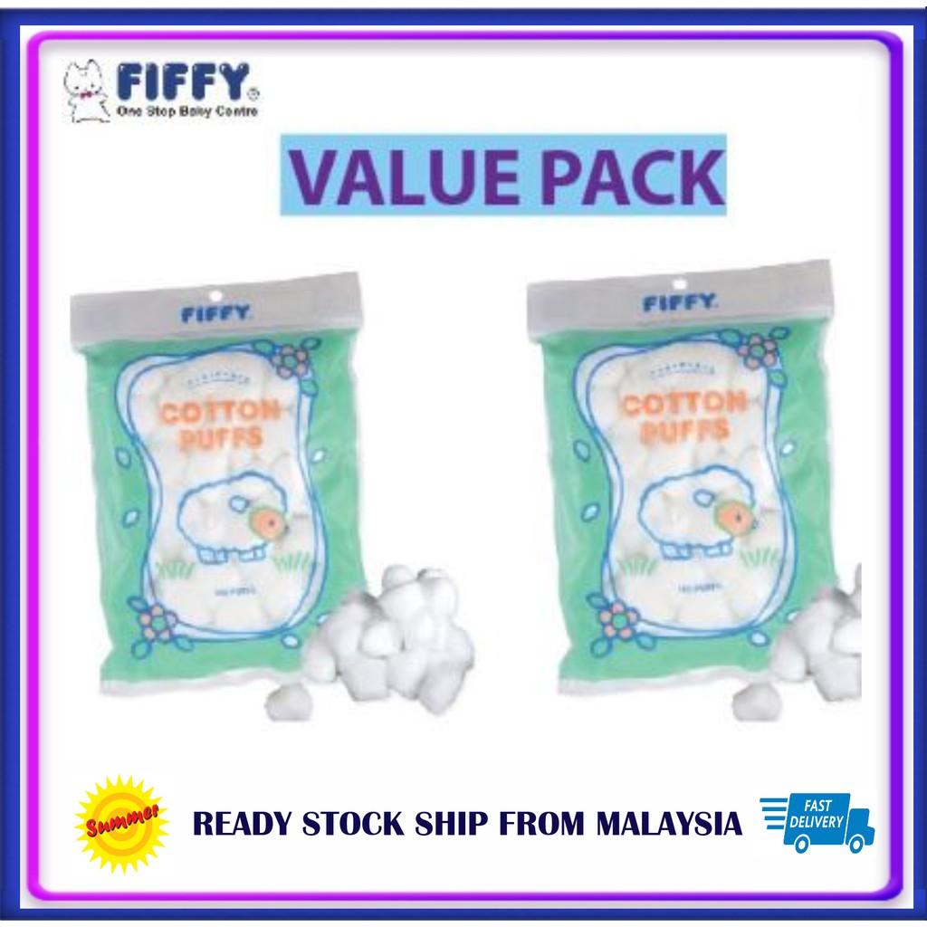 Fiffy Cotton Puff 1 x100pcs FIFFY Value Pack Cotton Ball baby kapas bulat