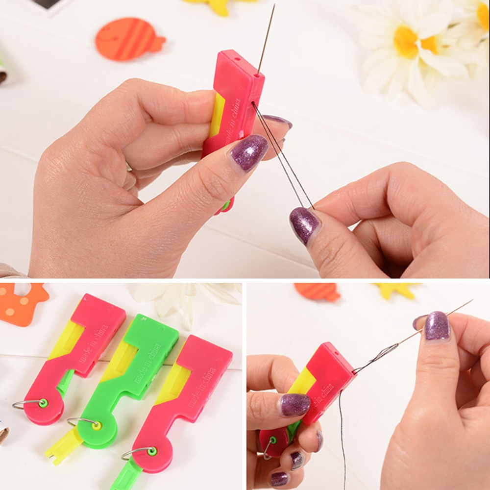 Sewing Tool Assorted Color Plastic Needle Threader 2 Pcs