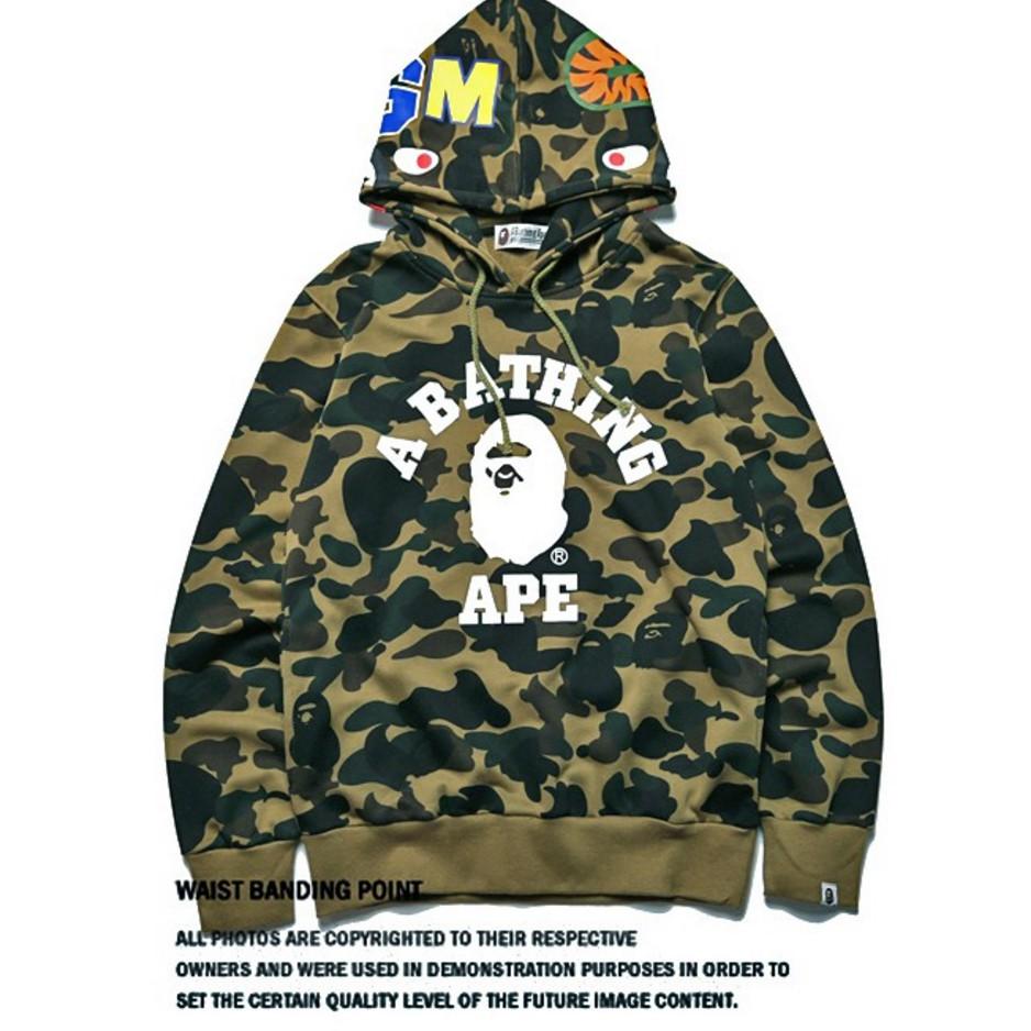 157bcf39 Men's Bape A Bathing Ape Full Zip Shark Head Camo Hoodie Coat Sweatshirt  Jacket.