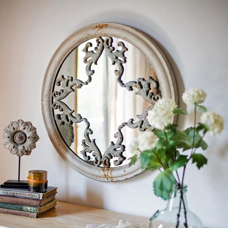 掬han Retro Pattern Round Mirror Makeup Mirror Wrought Iron Wall Hanging Bathroom Mirror Decorative Mirror Vanity Mirror Hanging Mirror Shopee Malaysia