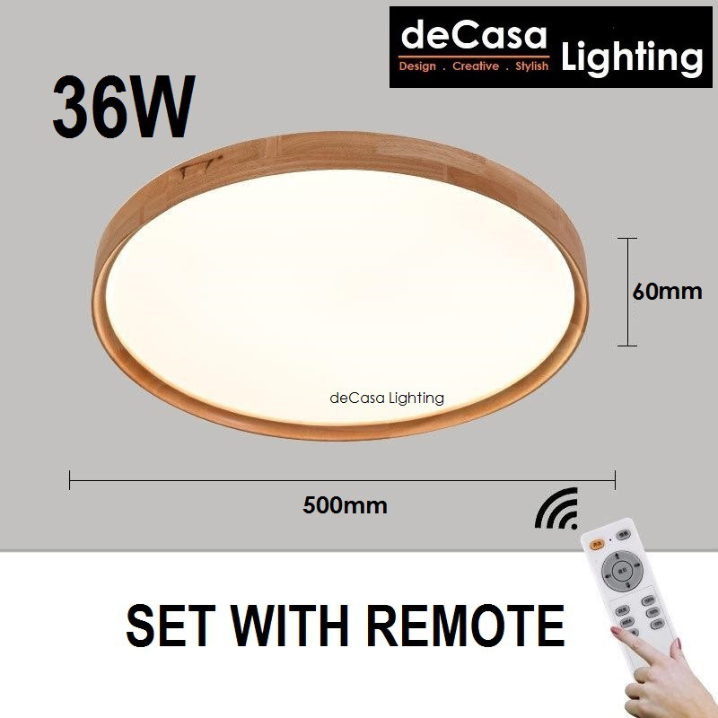 DECASA 500mm Wood Frame Design Modern Led Ceiling Light No Remote / With Remote Control 3 Color Lampu Ceiling (201873)