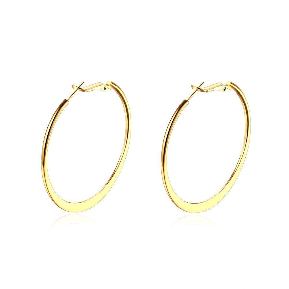 18K Gold Stainless Steel Big Hoop Earrings Exaggeration Hoop Earrings Women Girl