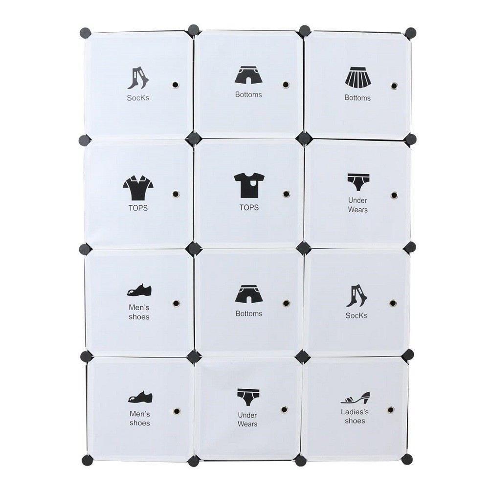 Spacious & Deeper Space Wardrobe 12 Cubes with 2 Hangers LRA0097WH