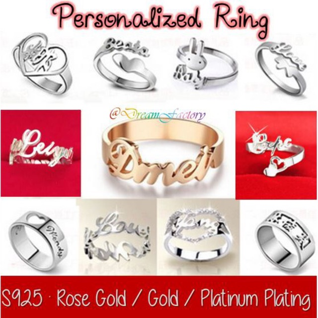 8578228f1ba45 DIY NAME ring Pure silver personalized ring Rose gold Gold Platinum plating  ring
