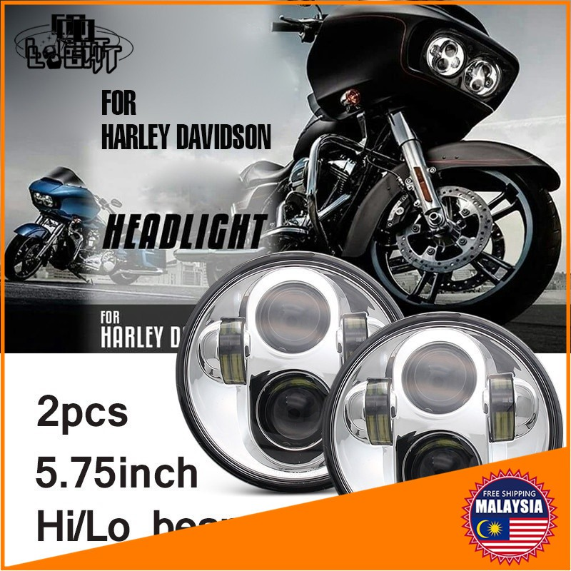 2 Pairs of 5.75 Inch LED Headlight Chrome Projector Headlamp for Gran Torino