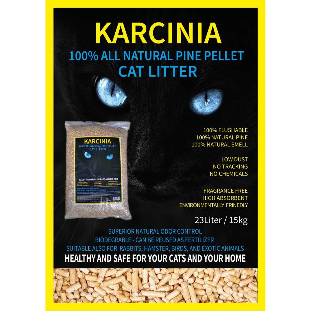 (NEW ARRIVAL) 15kg KARCINIA Eco Natural Pine Wood Cat Litter | Pasir Kucing Kayu Pine 15kg 23Litres