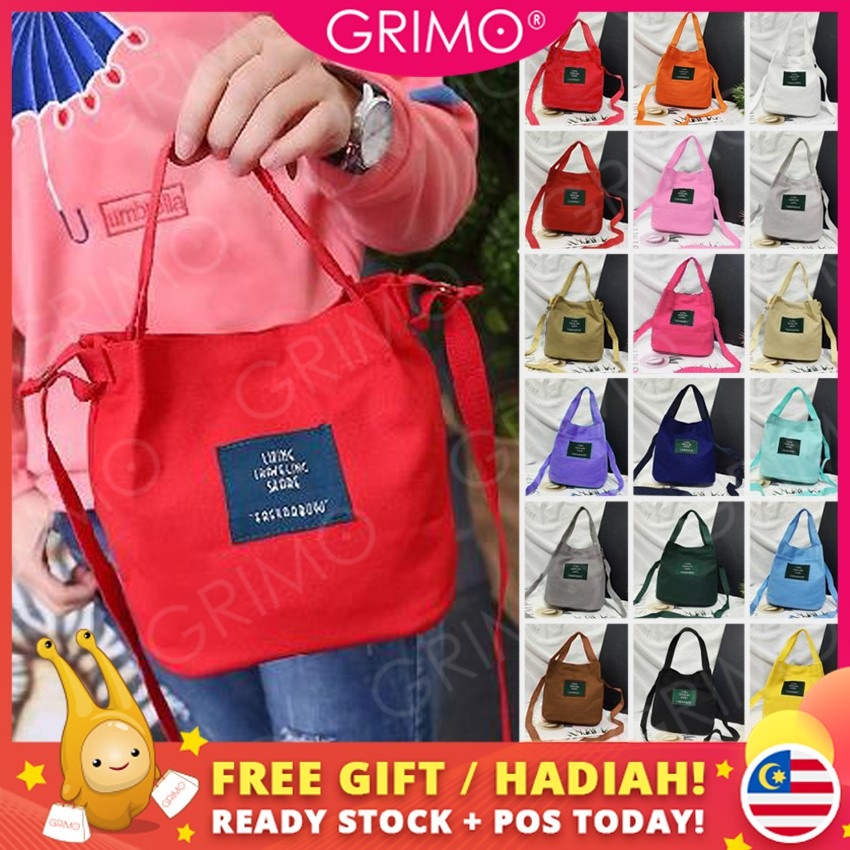ba4aad39b3b3 READY STOCK💞GRIMO Casual Canva Tote Women Sling Bag Handbag Bags Sling  Shoulder Bag Beg Perempuan Crossbody Bag Wanita