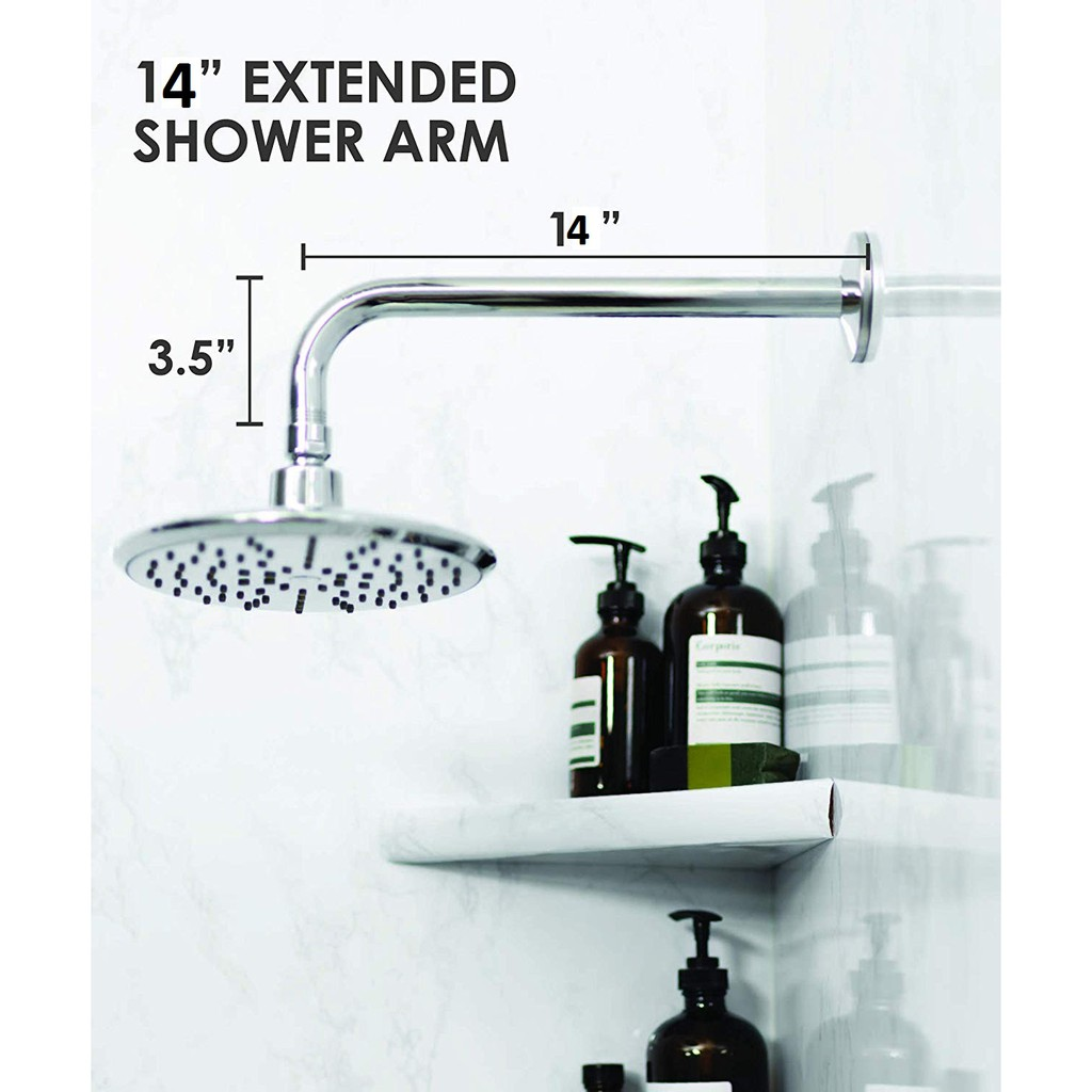 14 L Shape Chrome Shower Arm Extension Rainfall Shower Head Brass