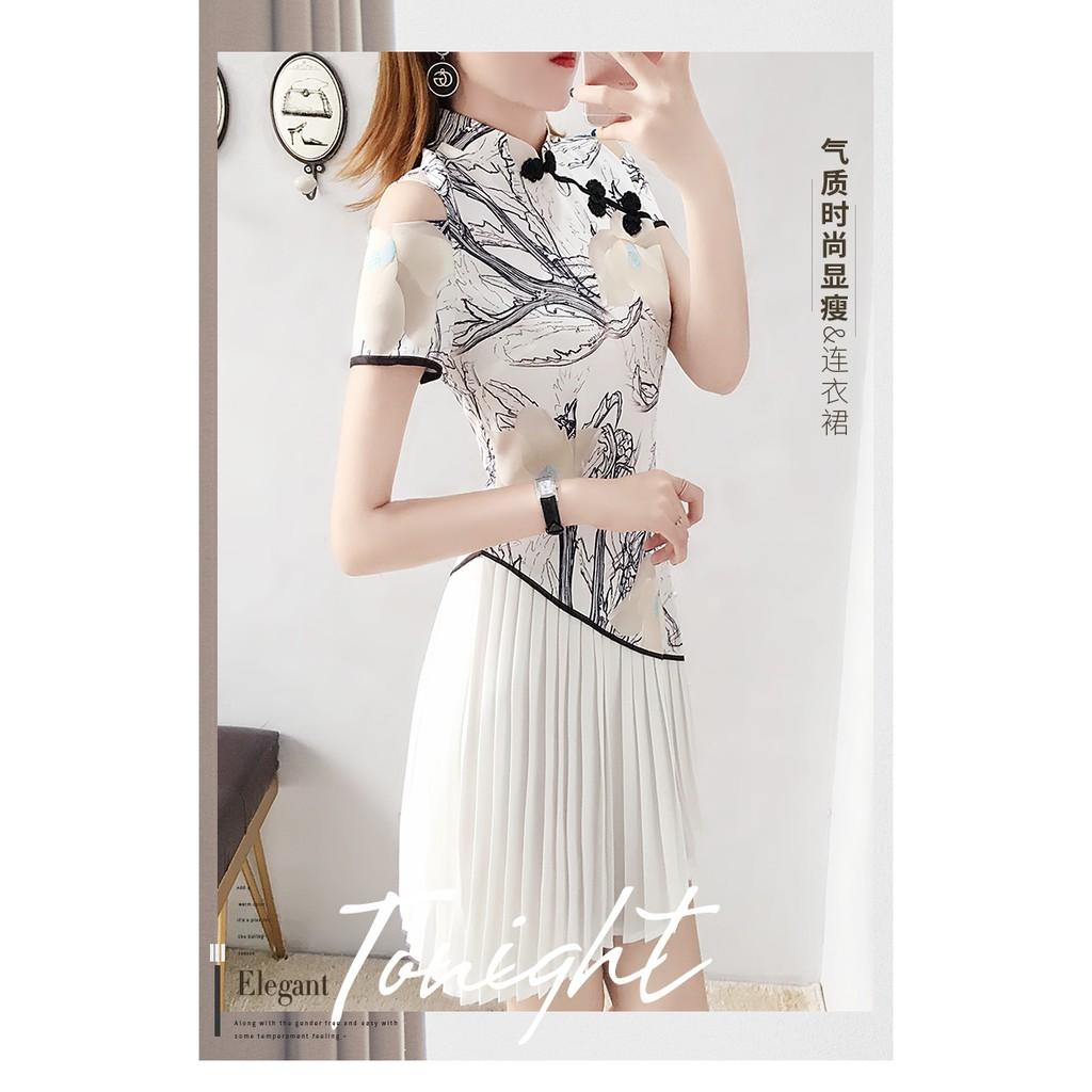 [NEW] Chinese Vintage Flower Printed Pleated Dress /Cheongsam 中式复古印花百褶裙 连衣裙