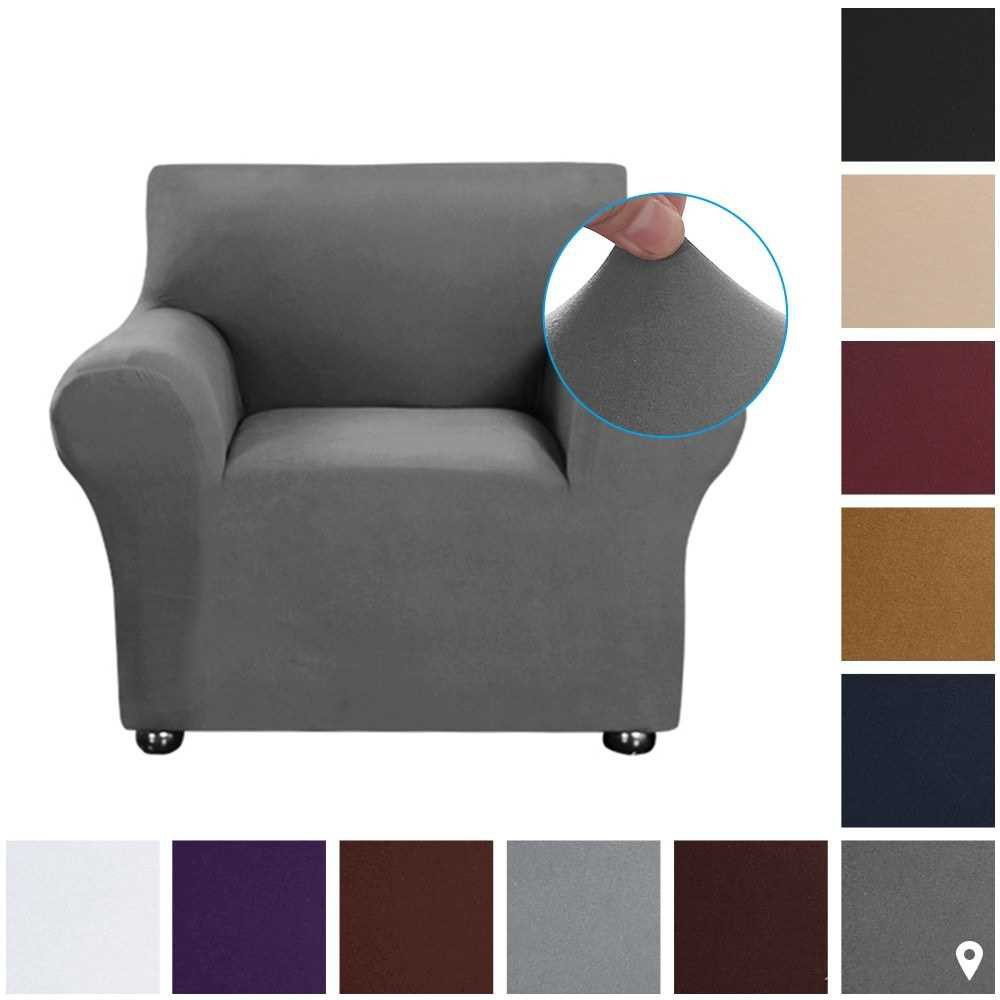 Stretch Sofa Slipcover Milk Silk Fabric Anti-Slip Soft Couch Sofa Cover 1 Seater Washable for Living Room Kids Pets(Dar