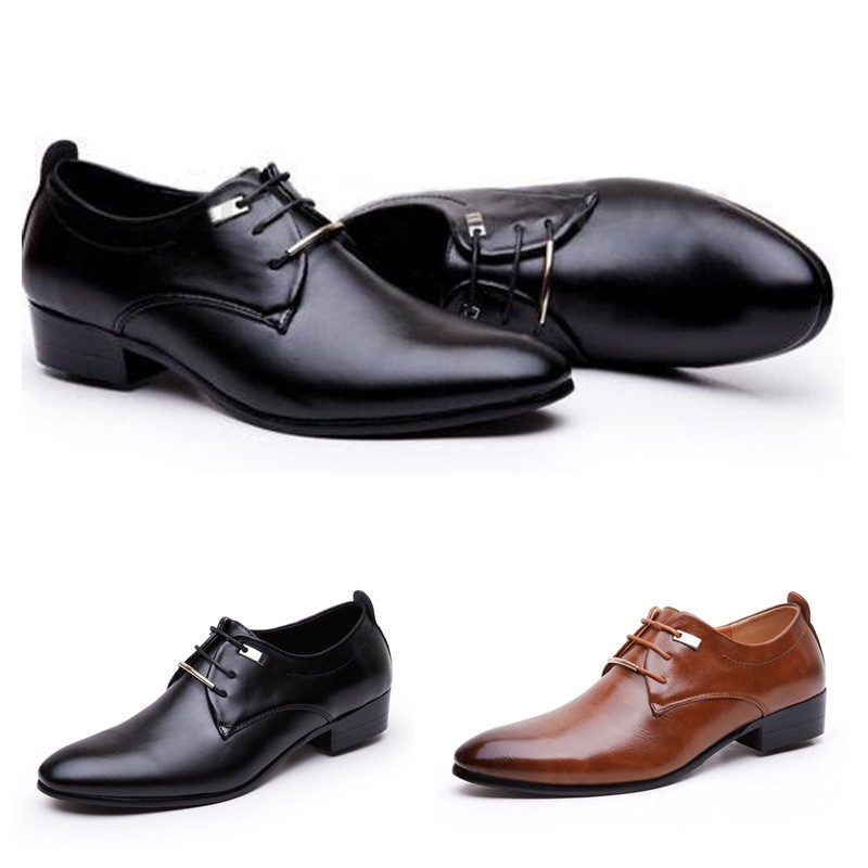 f71b575ebcfe GRAK♥Men Casual Fashion Oxfords Leather Lace Up Wedding Formal Dress Shoes