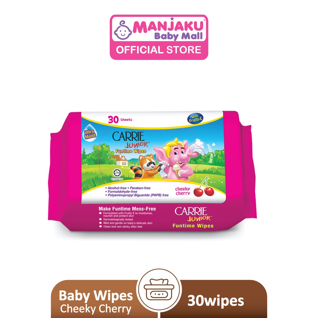 Carrie Junior Funtime Wipes (30's) - Cheeky Cherry