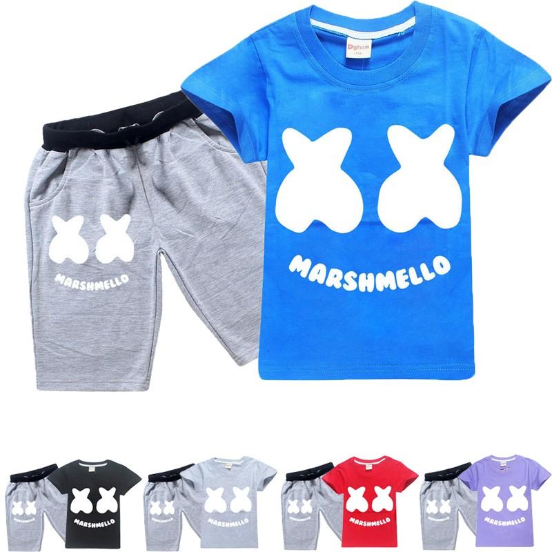 Marshmello DJ Music T-shirt Kids Boys Tops Sport Pants 2PCS Outfits Set Clothing