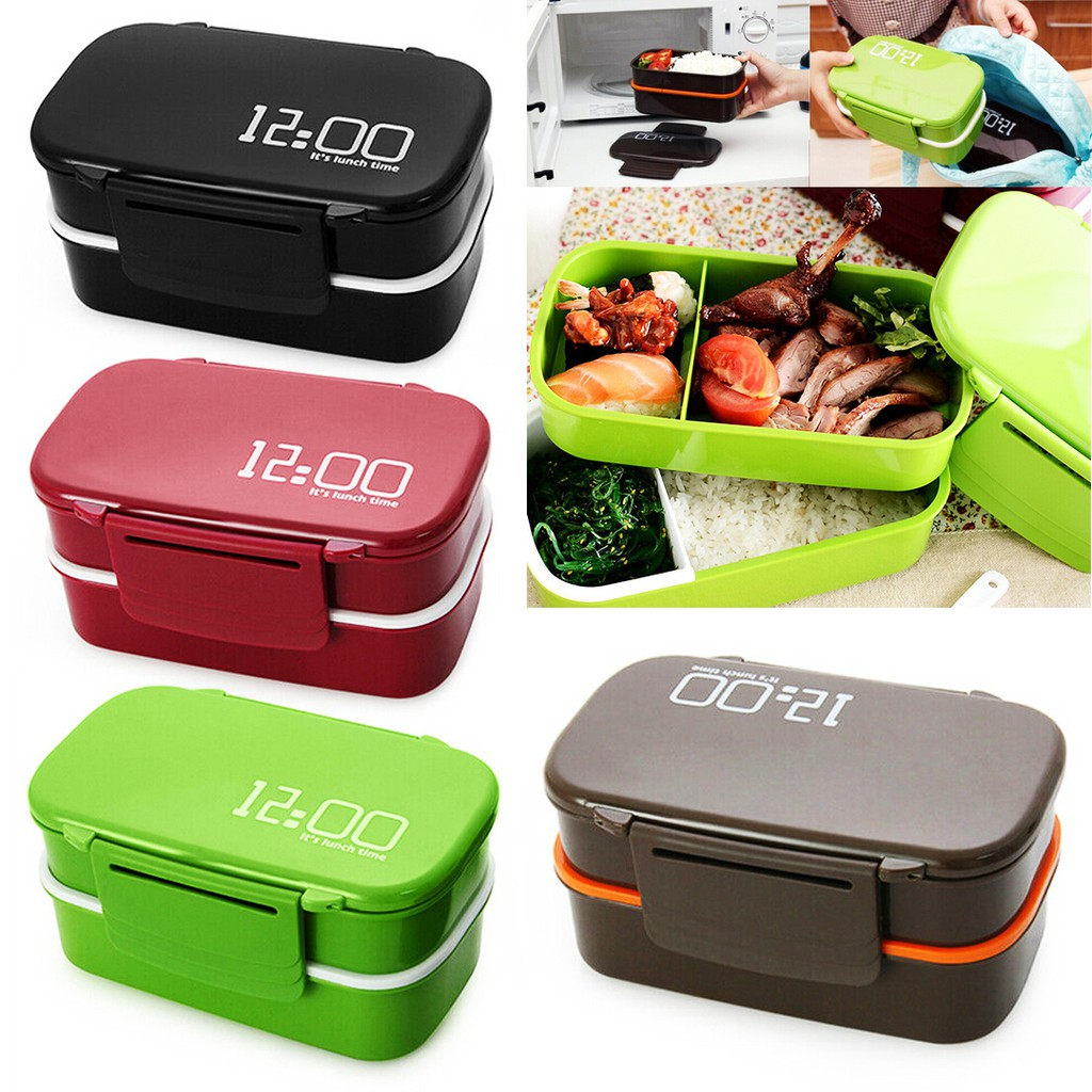 Plastic Lunch Box Food Container Sandwich Storage Box Double Layer Bento Box Set
