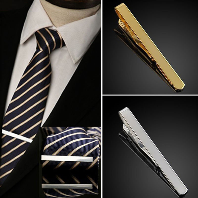 Tie Bar Clamp Pin Simple Silver Tone Metal Clip Clasp Men Wedding Gift Necktie