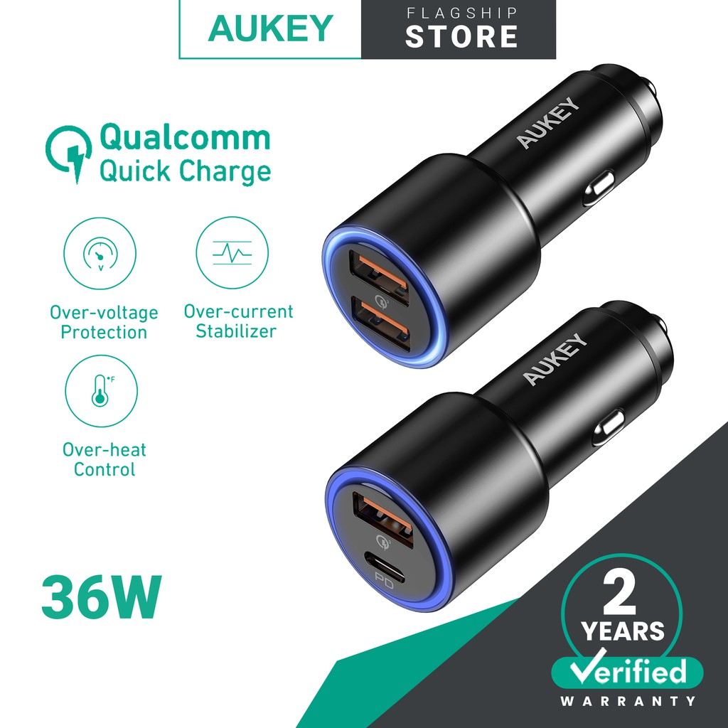 AUKEY CC-Y17S/Y18S Dual Port 36W LED Car Charger Fast Charging