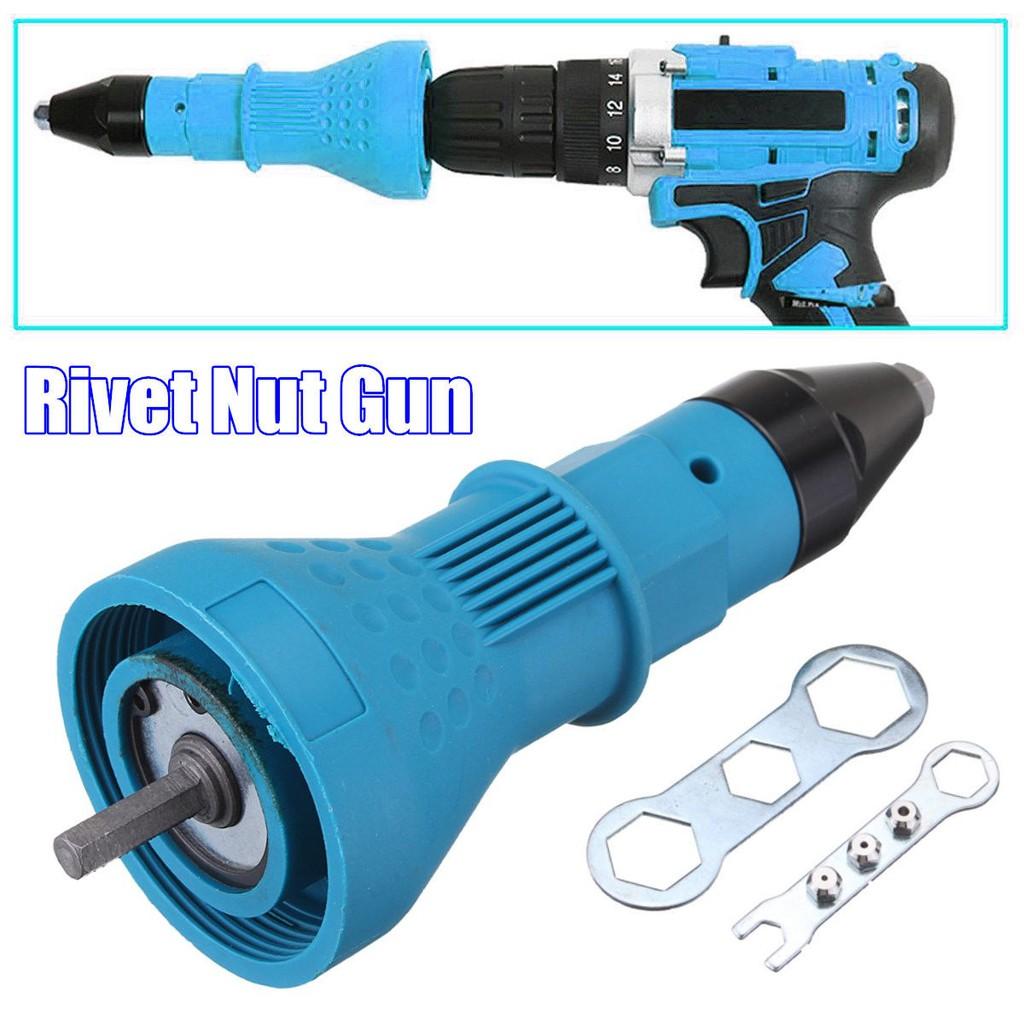 Electric Rivet Nut Gun Cordless Riveting Drill Adapter Attachment Tool Blue