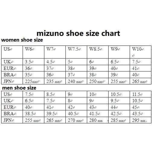 mizuno boots size chart