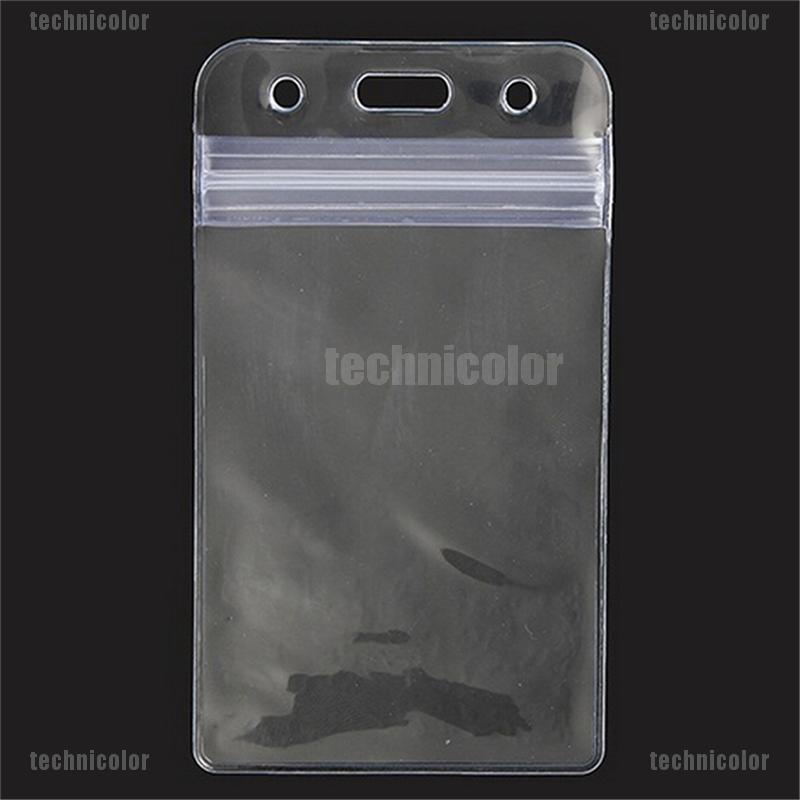 50pcs Transparent Plastic Vertical ID Credit Card Holder Protector Sleeve