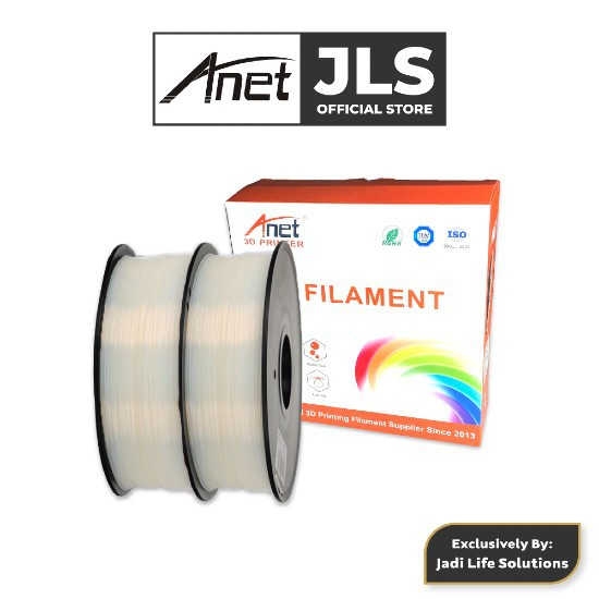Anet 340m 1.75mm PLA 3D Printing Filament Biodegradable Material - White (2 Units)