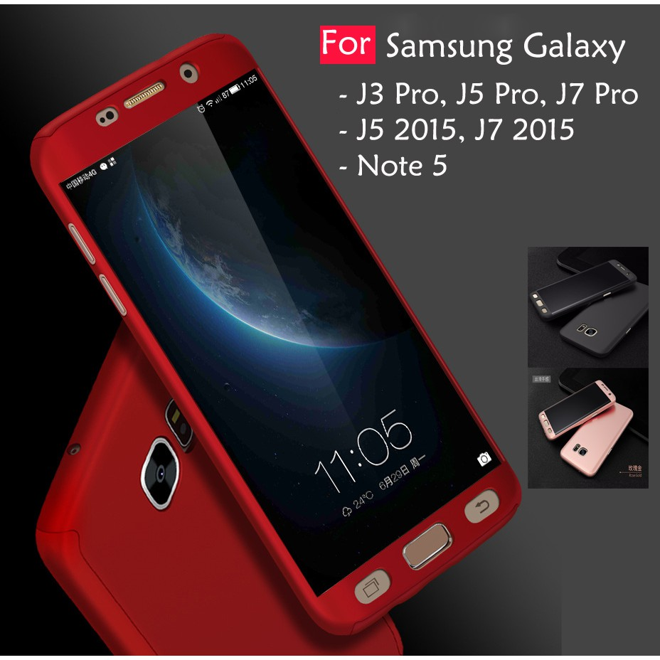 detailed look 1cd38 2e45d Samsung Galaxy J3 J5 J7 Pro 2015 360 Full Protect Cover Case Temp Glass