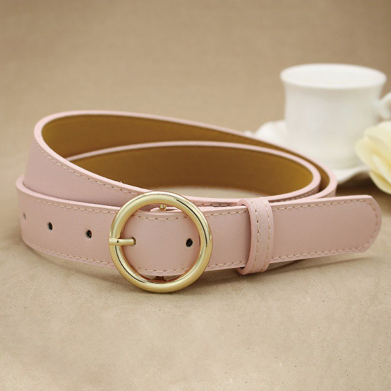 d2216018214 Korean Fashion Women Alloy Round Buckle Versatile Belt