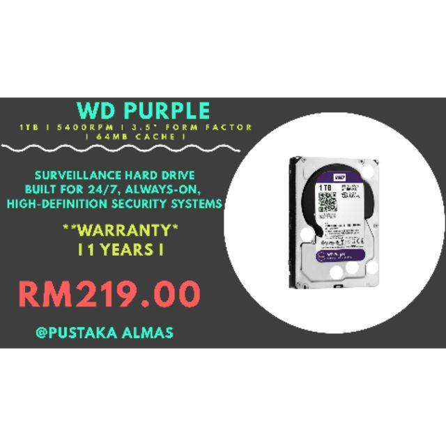 WD PURPLE 1TB 5400RPM 3 5
