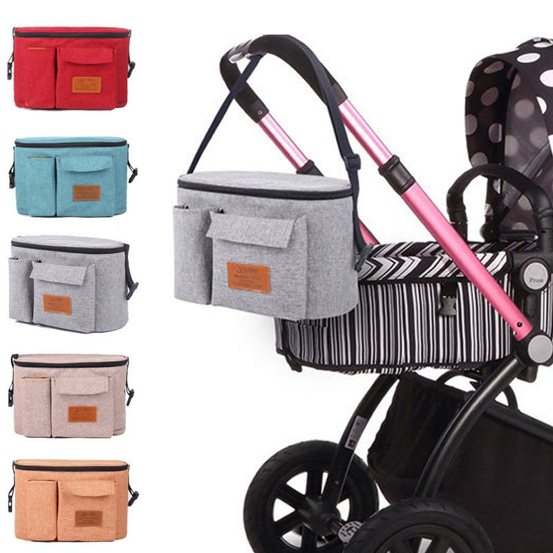 Stroller Organizer Baby Buggy Pram Bag Diaper Storage Organizer Multifunction Stroller Bag with Cup Holder Large Capacity fit for Universal Stroller accessories by AENMIL White Dot
