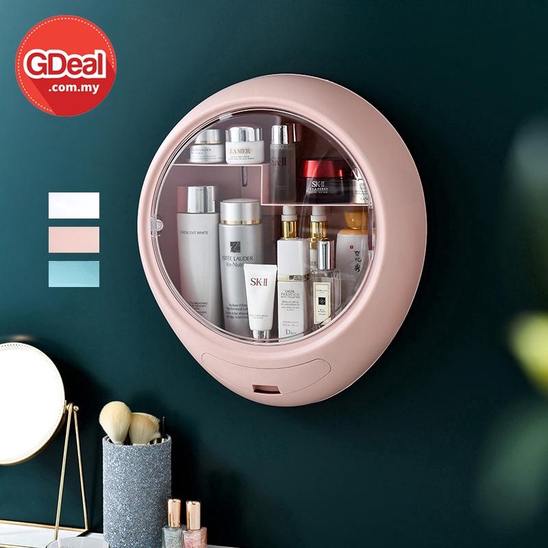 GDeal Wall Mounted Bathroom Bedroom Cosmetic Organizer Skincare Storage Box Kotak Alat Mekap كوتق الت ميكاڤ