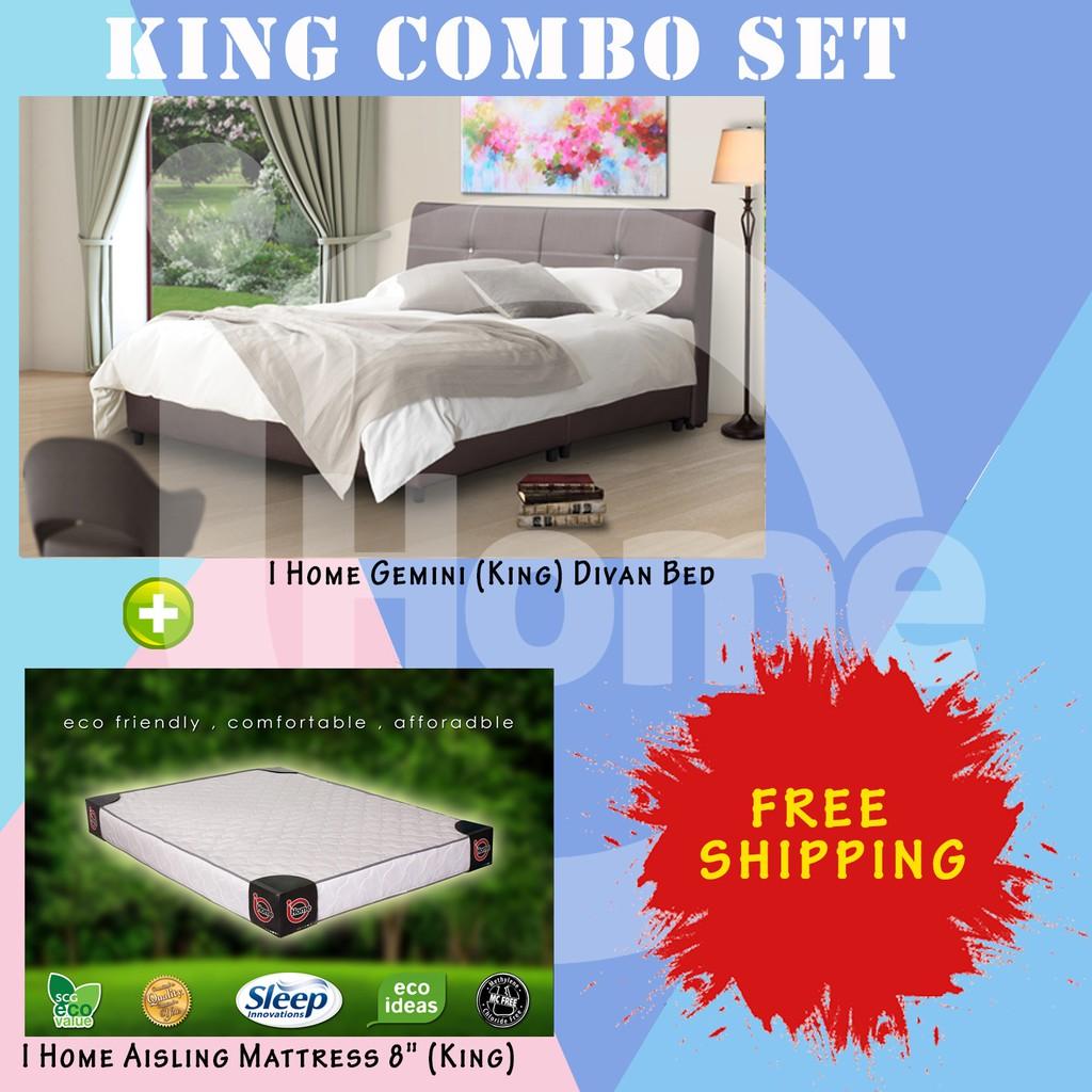 I Home Combo Gemini Divan Bed (King) + I Home Aisling 8 Inchi Mattress  (King)