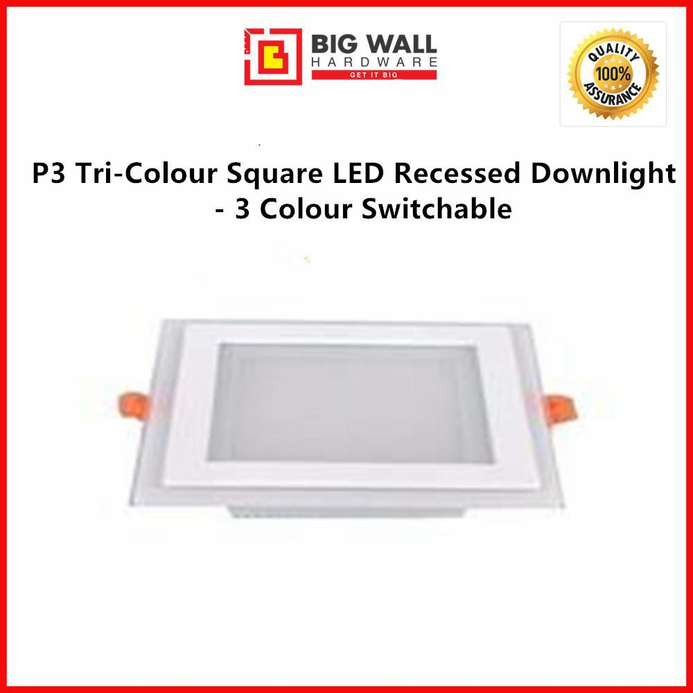 Perfect One P3 Tri-Colour Square/Round LED Recessed Glass Downlight - 3 Colour Switchable *1 year Warranty from Malaysia