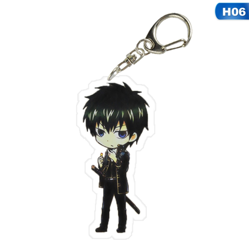 Anime Gintama Sakata Gintoki Keychain Acrylic Key Ring Keychain Collection
