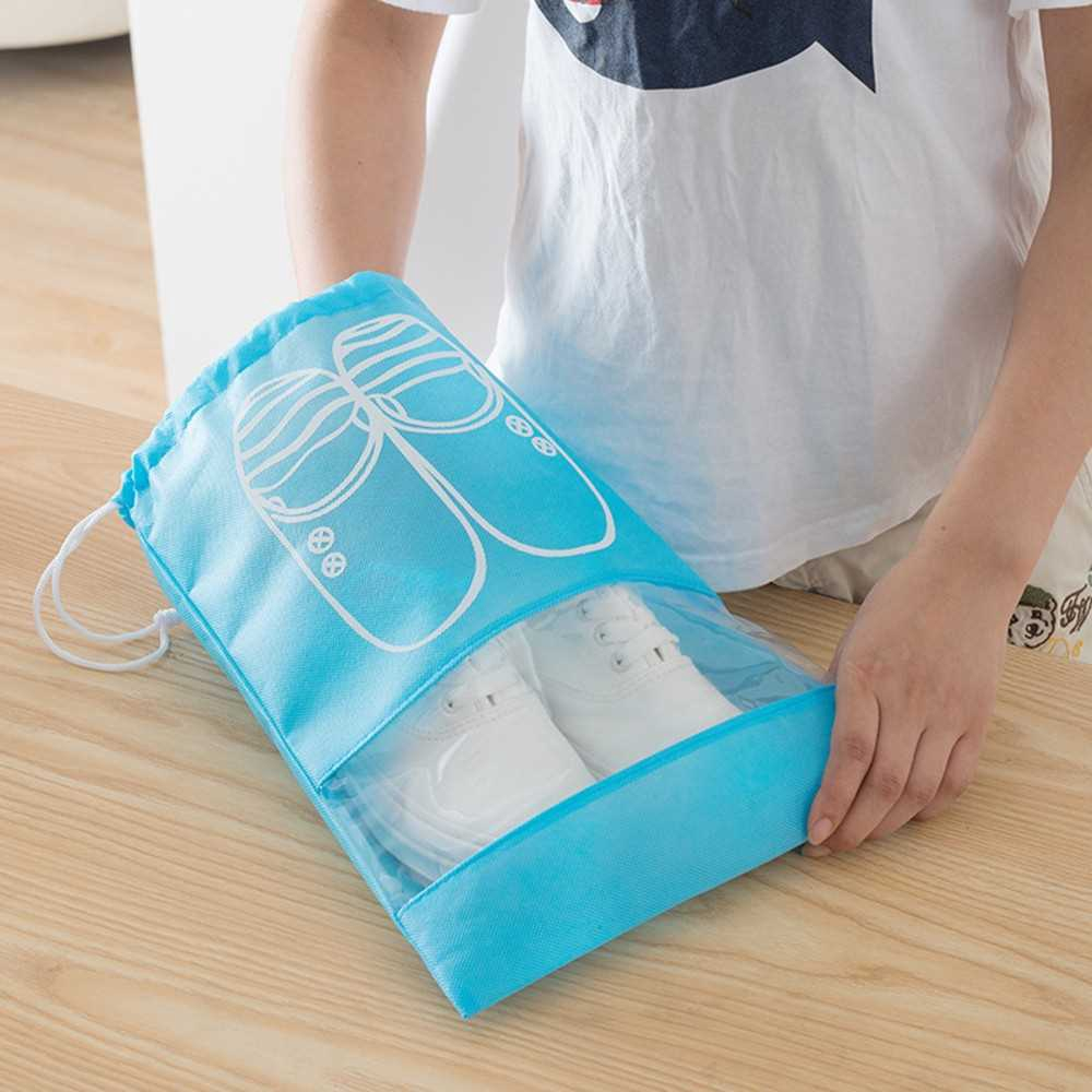 Household Travel Dust-proof Shoe Organizer Bags with Drawstring Transparent Window Waterproof Non-Woven Travel Shoes St