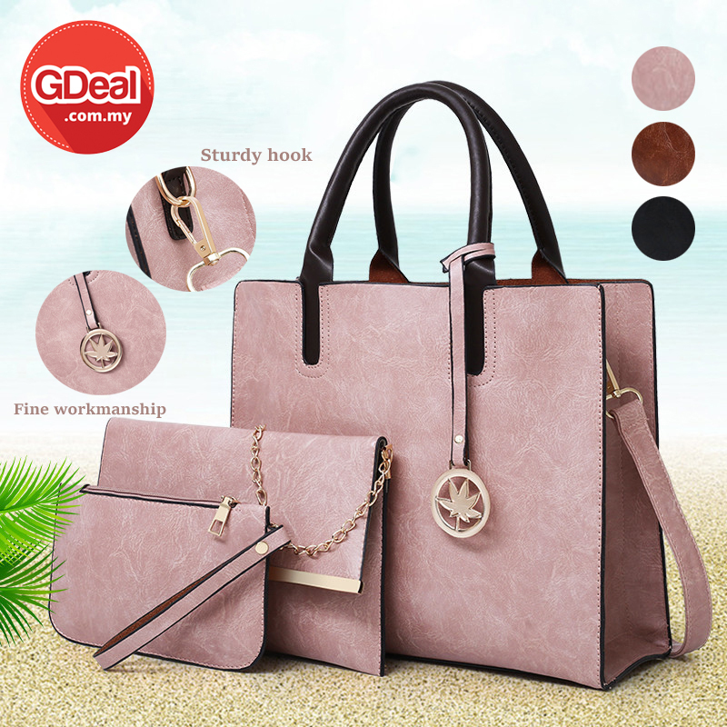 GDeal Korean Fashion Handbag Set Trendy 3 In 1 PU Leather Female Bag Set Beg Wanita