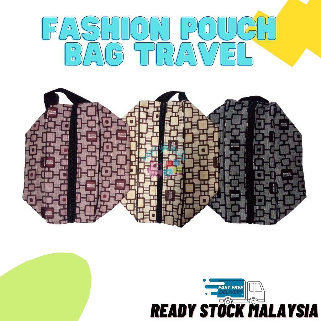 [Ready Stock] Fashion Pouch Bag Women or Men Accessories l Cosmetics l Makeup l Toiletries for Travel with side handle