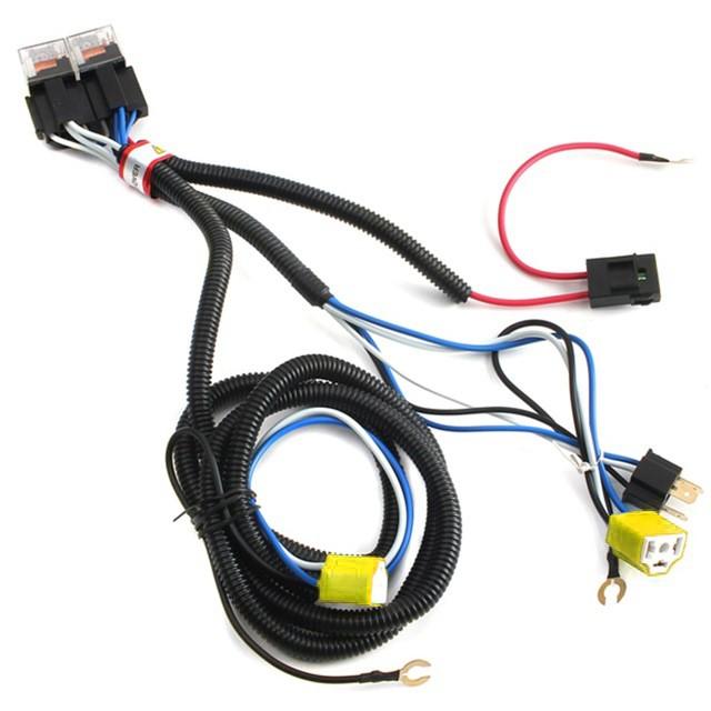 H4 Headlight 2 Head Lamp Relay Socket Plug Wiring Harness Set Fix Dim on