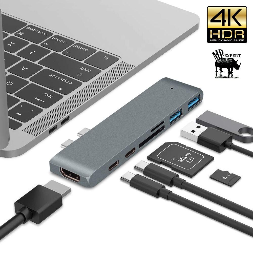 5IN1 Type-C Hub Adapter Dual USB 3.0 Thunderbolt 3 USB-C HDMI 4K SD for Macbook