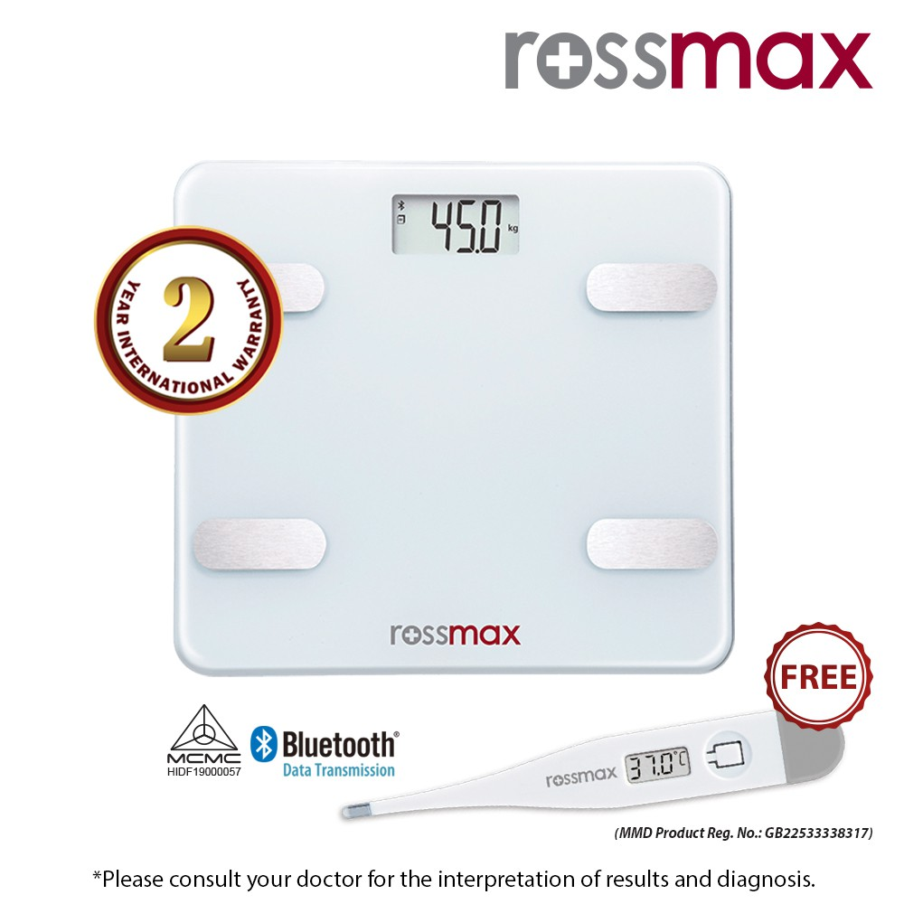 ROSSMAX Bluetooth Body Fat Monitor with scale Model WF262 + Digital Thermometer TG100