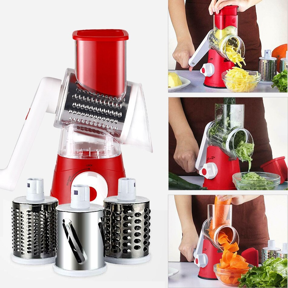 ready stock~TABLETOP DRUM GRATER SHREDDER ROTARY WITH 3 STAINLESS STEEL ROTARY BLADES