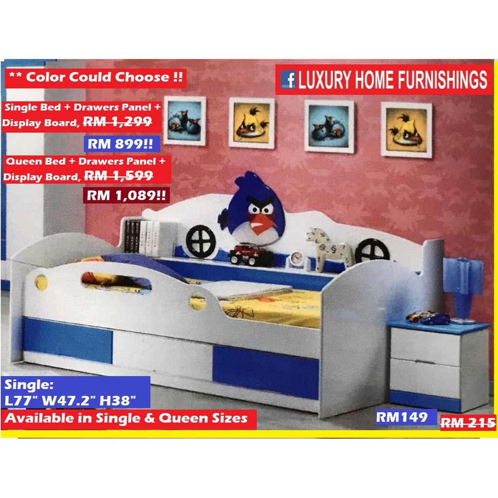QUEEN SIZE  Bed, BLUE & WHITE, with Drawers Panel & Display Board, Children Bed Room Set collections, EXPORT SERIES