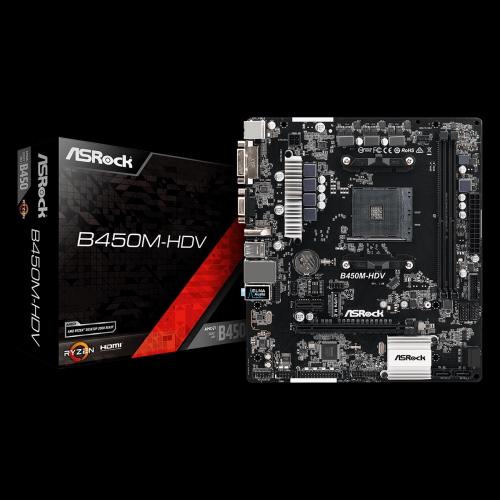 ASROCK B450M HDV (AMD AM4 SOCKET) MOTHERBOARD